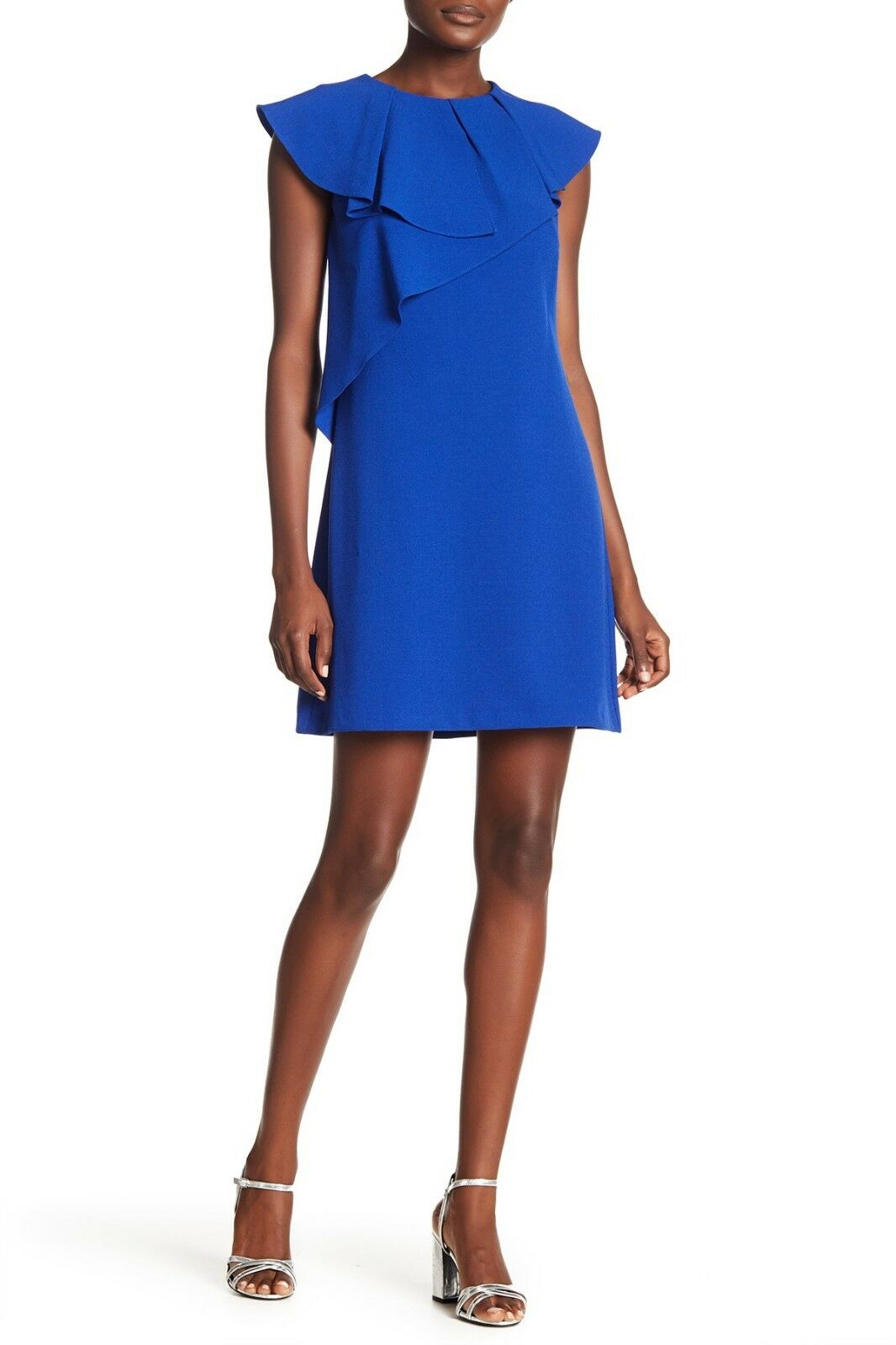 Eliza J Ruffle Cap Sleeves Shift Dress Royal bluee Size 14