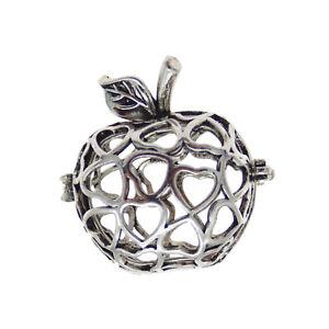 Lot-of-2-Vintage-Silver-Metal-Locket-Apple-Shaped-Charm-Pendant-Jewelry-Findings
