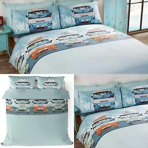 Edredon-azul-cubre-caravanas-Retro-Surf-Playa-impreso-Cubierta-Del-Edredon-Conjuntos-de-Cama