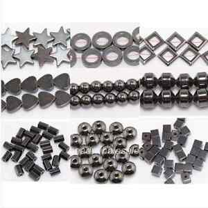 20-100pcs-Black-Hematite-Gemstone-Spacer-Beads-Round-Square-Star-Heart
