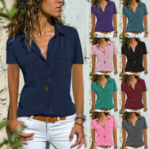 12b7caaa8fe Details about UK Womens Short Sleeve Blouse Ladies Henley Work Buttons  Loose Shirt Cotton Tops