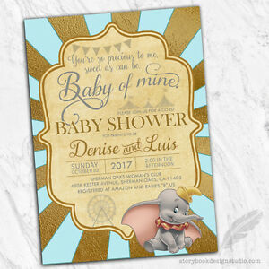 Details About 10 Dumbo Baby Shower Invitations Circus Elephant Classic Storybook Vintage