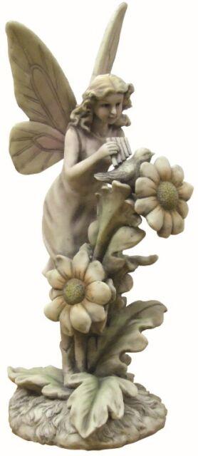 Gardenwize Magical Fairy Angel Bird & Flowers Garden Ornament Feature Statue