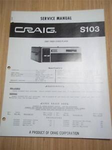 craig service manual s103 8 track tape player car original repair rh ebay com CD Player Repair Shop Denon CD Player Repair