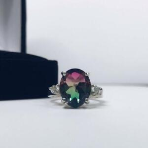 925-Sterling-Silver-Natural-Certified-5-Ctw-Watermelon-Tourmaline-Cluster-Ring