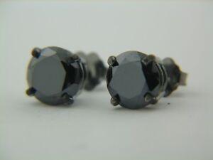 14K-White-8mm-Round-Black-Moissanite-Earrings-3-10-carats-four-prong-setting-NEW