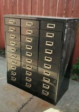Vintage Metal Parts Art Chest Cabinet 30 Drawers 16deep Industrial Classic Usa