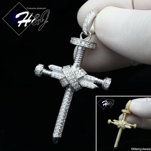 925 STERLING SILVER LAB DIAMOND ICED BLING GOLD//SILVER NAIL CROSS PENDANT*SP180