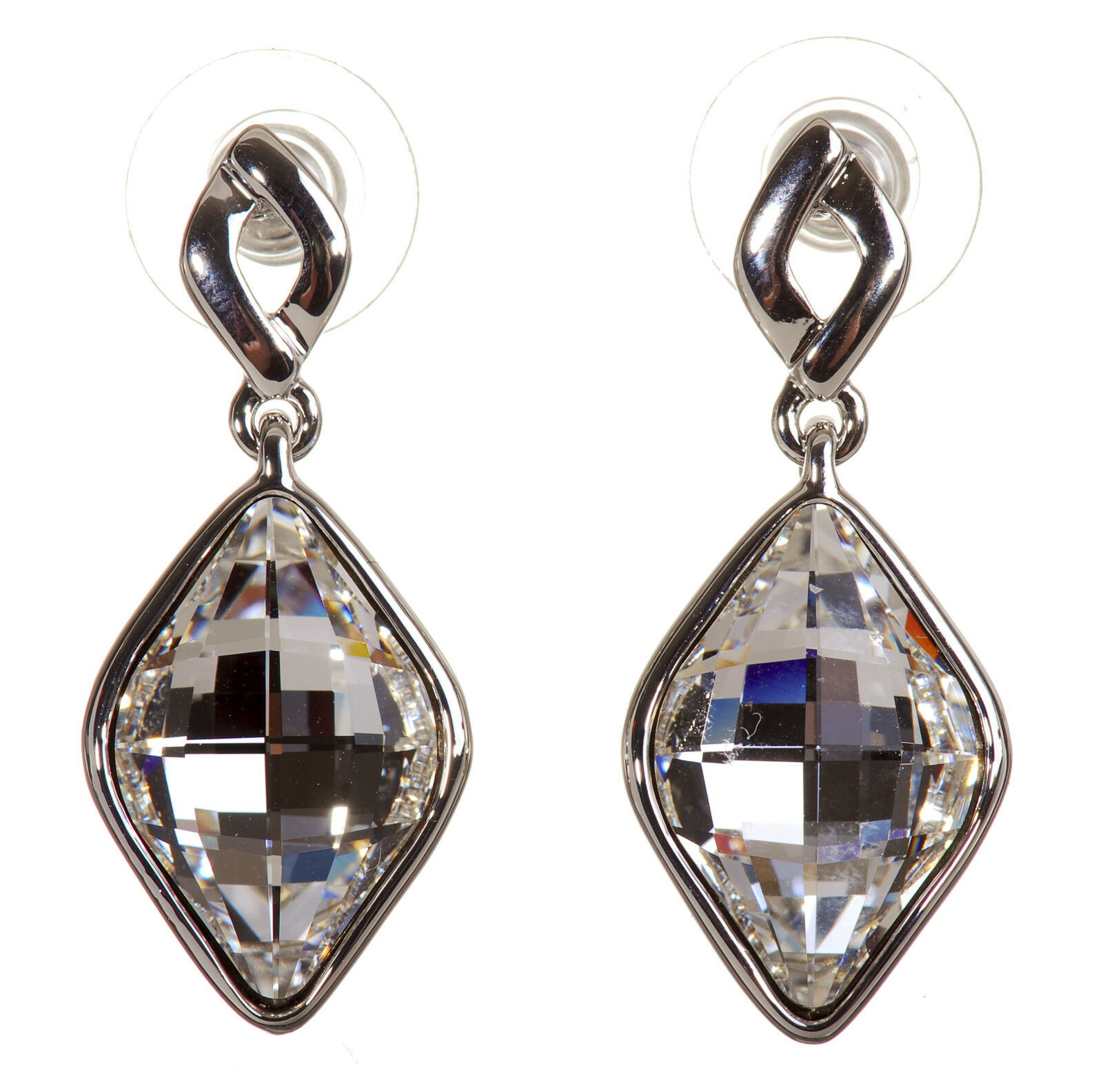 Swarovski Elements Crystal Mira Rhombus Drop Earrings Rhodium Authentic 7272y
