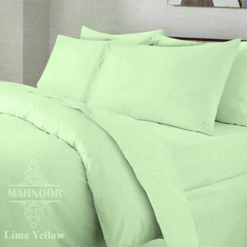 Plain Dyed PolyCotton Fitted Flat Bed Sheet Single Double King With Pillowcases