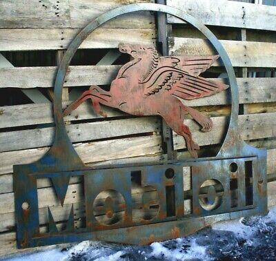 "Rusty Patina Standard Oil Gas Station Garage Sign Large 36/"" Wall Petroleum Art"