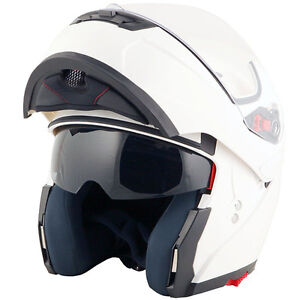 Duchinni-D606-Flip-Up-Front-Motorcycle-Helmet-White-Crash-Lids-Scooter-Motorbike