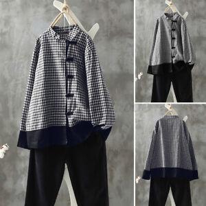 Jolie-Femme-Chemise-Shirt-Casual-en-vrac-Manche-Longue-Verifier-Haut-Couture