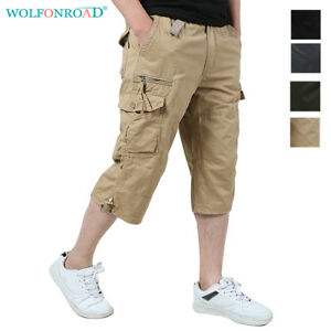Mens-3-4-Cargo-Shorts-Capri-Pants-Casual-Jogger-Shorts-Work-Pants-Sport-Trousers