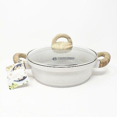 New Masterclass 9.5 Casserole Pan Pot Cookware Wood Lid Beige Tan Speckled