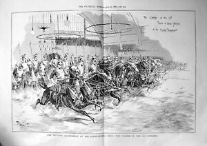 Old-Print-Military-Tournament-Agricultural-Hall-Charge-12Th-Lancers-1889