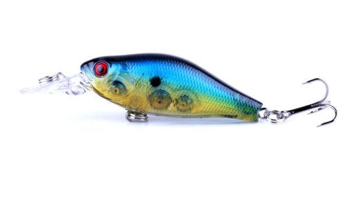 10PCS Lot Crankbait 7cm//9g Minnow Fishing Lure Hook Tackle Hard Bait Wobbler