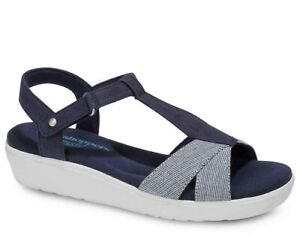 Grasshoppers-Clover-Wedge-Sandals-Blue-White-Women-039-s-Casual-Comfort-Shoes