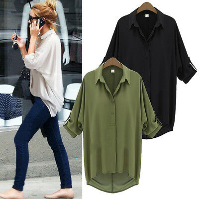 Fashion Women V-neck Tops Long Sleeve Shirt Casual Chiffon Blouse Loose T-shirt