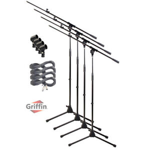 Microphone-Boom-Arm-Stand-4-Pack-Holder-XLR-Cable-Mic-Clip-Stage-Studio-Griffin