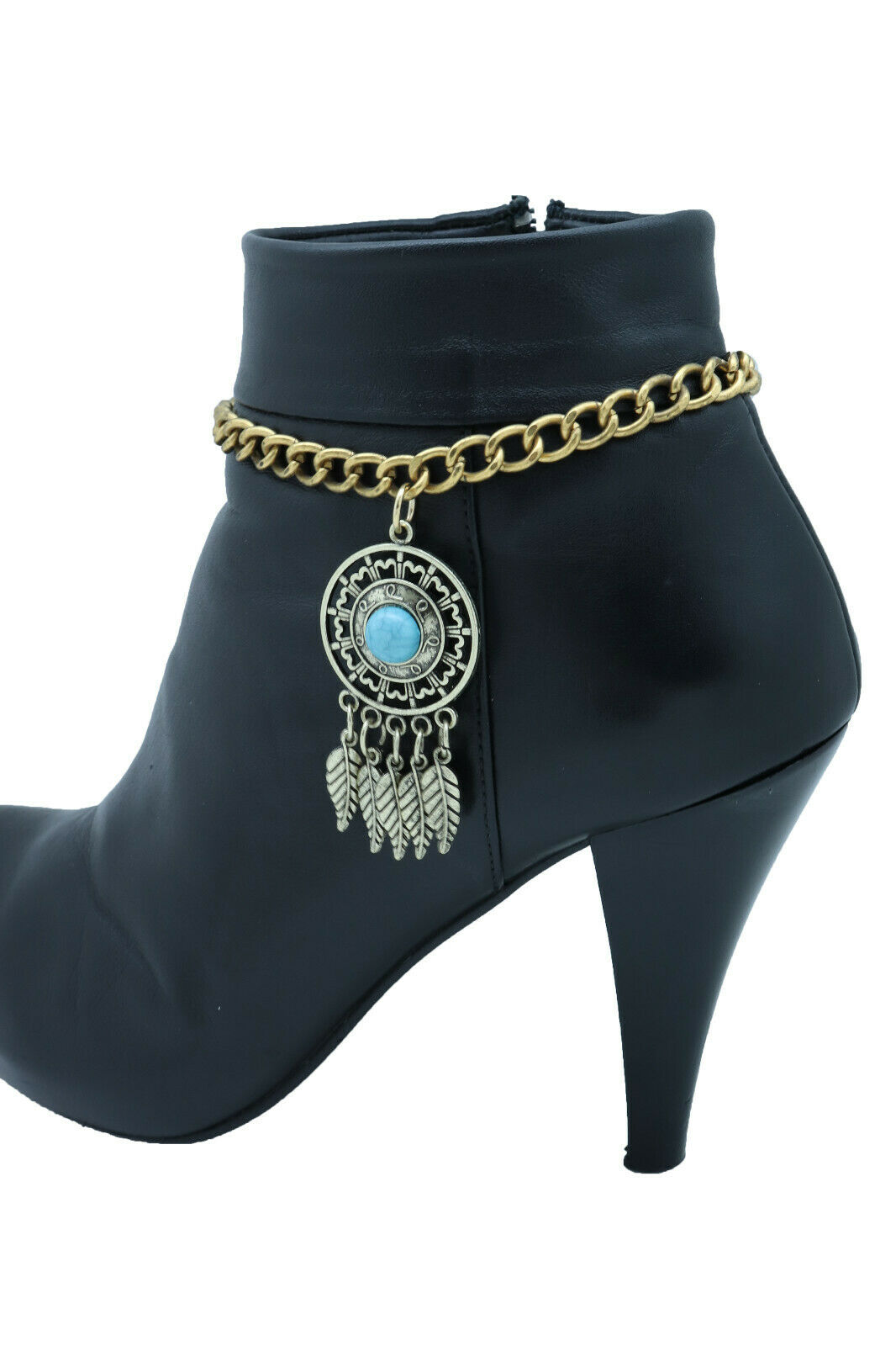 Women Vintage Gold Metal Boot Chain Bracelet Shoe Feather Turquoise Blue Charm
