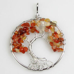 EPIC STONE- Tree of Life Pendant-Autumn-Red Agate-Chakra