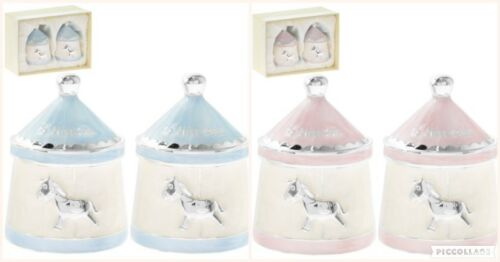 Silver Plated Carousel Tooth /& Curl Pink Blue Keepsake Boxes