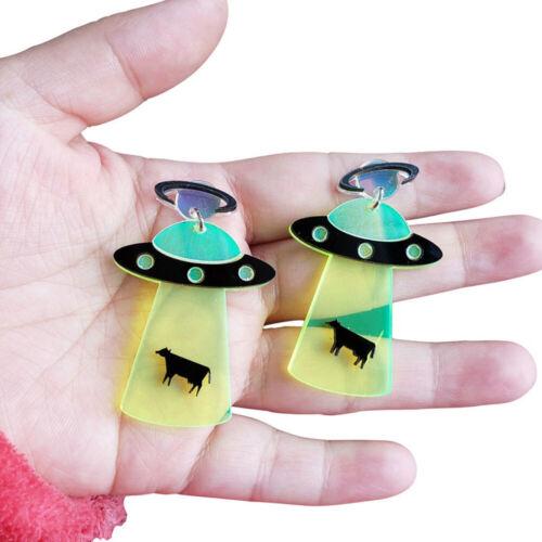 1 Paire Mignon exagération Alien Boucles d/'oreilles UFO VAISSEAU forme Boucle d/'Oreille Accessoires