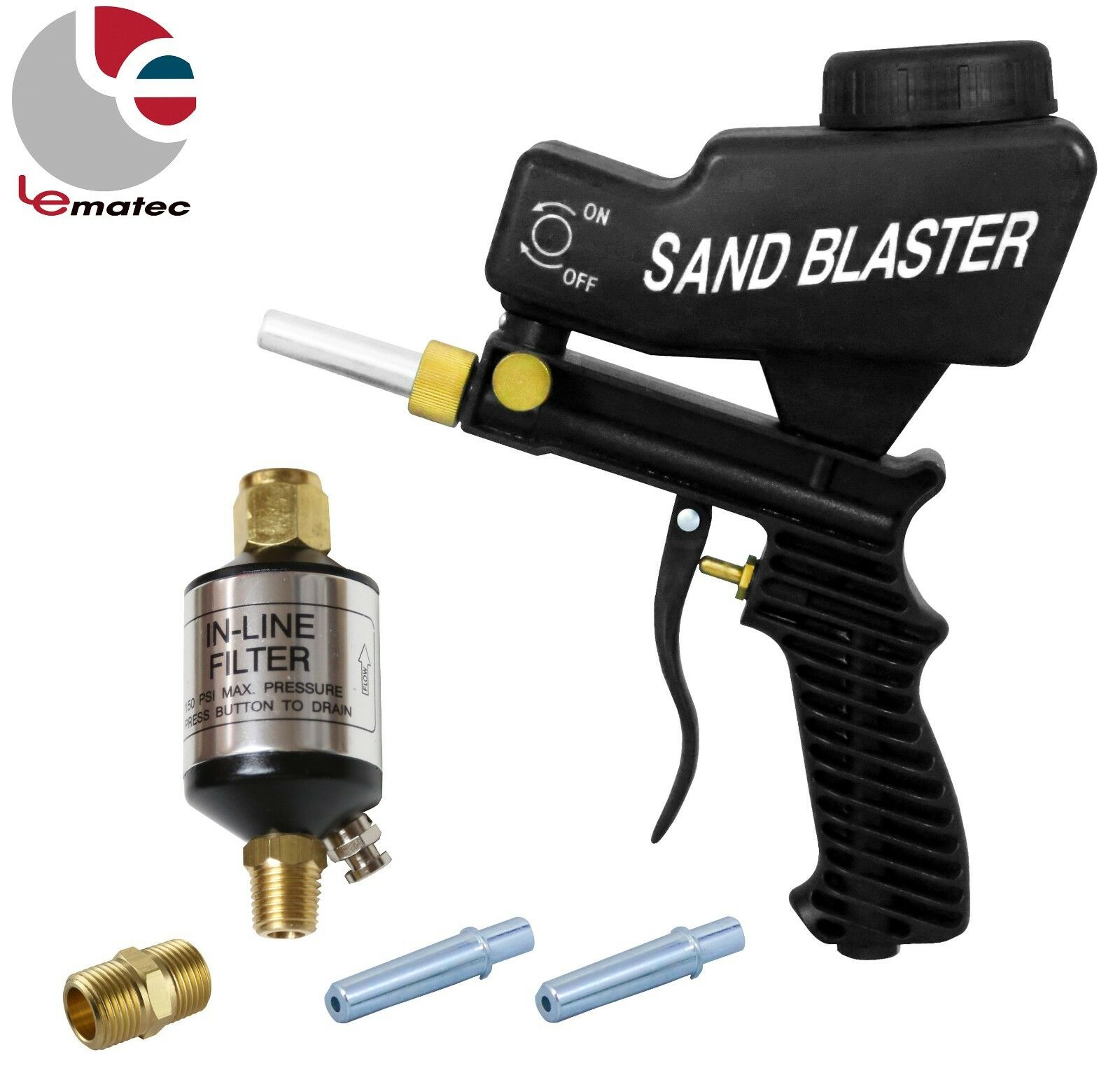 LEMATEC Sandblaster Gun W  1 4  Water Oil Separator Air Filter 2 Tips Power Tool