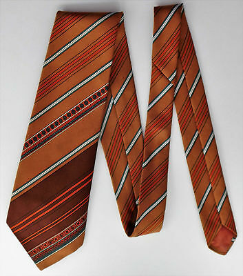 Prova kipper tie vintage 1970s brown polyester striped pattern Made in Britain