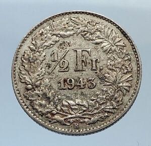 1943-SWITZERLAND-SILVER-1-2-Francs-Coin-HELVETIA-Symbolizes-SWISS-Nation-i71656