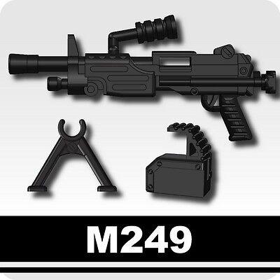 M249 SAW Machine Gun w/ ammo Navy Seals SWAT compatible w/ minifig Custom