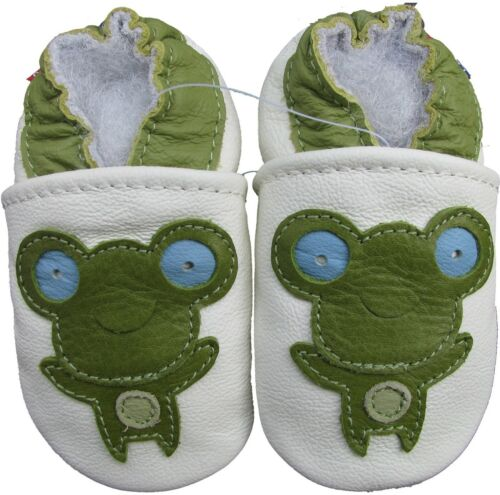carozoo frog white 12-18m soft sole leather baby shoes