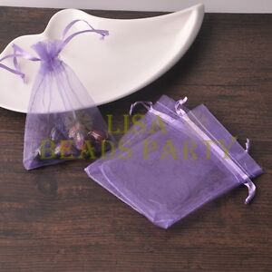 100pcs-16x11cm-Organza-Wedding-Party-Decoration-Gift-Candy-Sheer-Bags-Lt-Purple