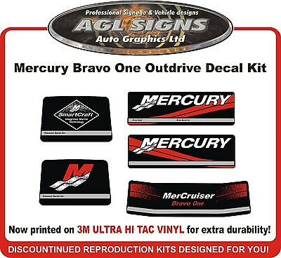 1984-1991 Mercury Alpha one Outdrive 9 Piece Reproduction Decals  Mercruiser