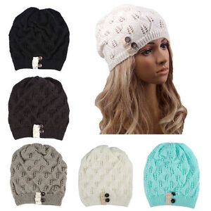 53e419b85728c 1pc Women Warm Winter Beret Braided Baggy Knit Crochet Beanie Hat ...