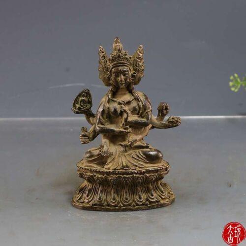 Chinese Tibet Buddha Bronze statue Three faces Buddha of Nepal old copper statue