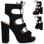 Womens Lace Up Block Heel Sandals Shoes Sz 3-8