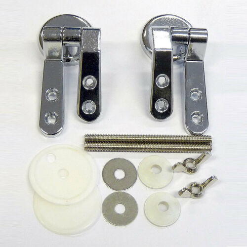 Pair of Replacement Chrome Toilet Seat HingesIncludes fittings /& fixings