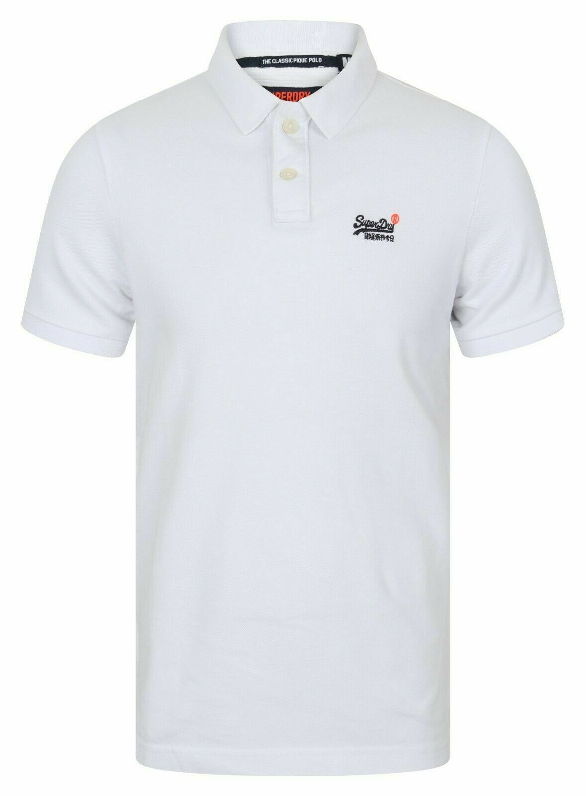 Mens Superdry Classic Short Sleeve Pique Polo Shirt T-Shirt Optic White