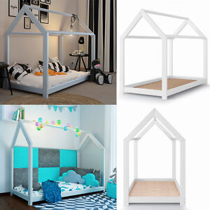 kinderbett 90x200cm kinderhaus kinder bett holz schlafen spielbett hausbett wei. Black Bedroom Furniture Sets. Home Design Ideas