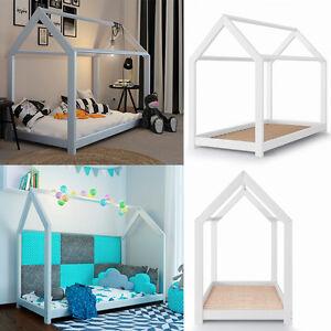 VICCO Kinderbett 90x200cm Kinderhaus Kinder Bett Holz Schlafen Hausbett weiß