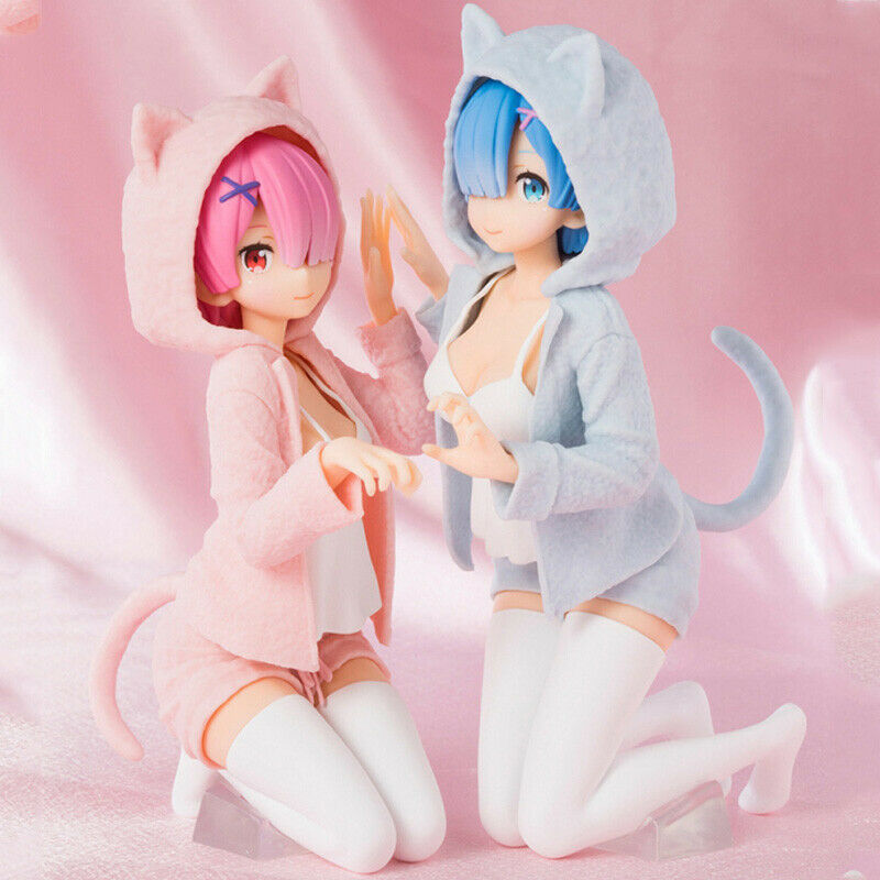 Details about Re:Zero Starting Life in Another World Rem and Ram Figure Nyanko Mode Anime Toy