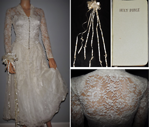 Antique-Wedding-Dress-Brussels-Mixed-Lace-Needle-Lace-Bobbin-Handmade-Gown