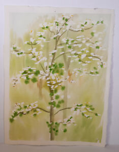 Details About 15 Vintage Watercolor Painting Abstract Spring Cherry Tree Home Wall Art Decor