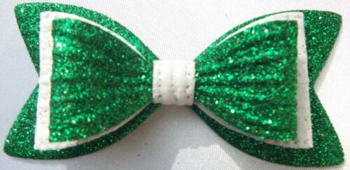 """GREEN AND WHITE SPARKLY GLITTER 3/"""" DOUBLE HAIR BOW GIRLS ALLIGATOR CLIP"""