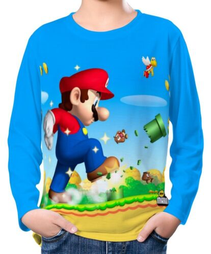 Super Mario Bros Boy Kid Long Sleeve T-Shirt Tee Age 3-13 ael30117