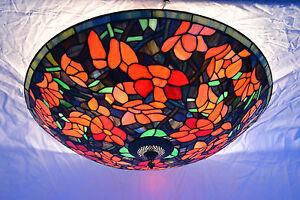 Plafoniere Stile Tiffany : Plafoniera lampada da soffitto stile tiffany molto grande ebay