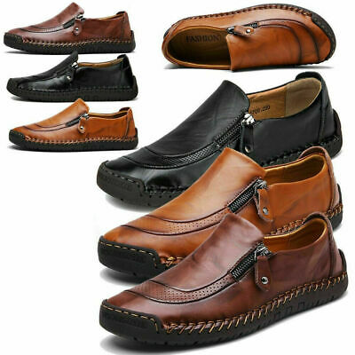 men's leather casual soft vintage dress shoes breathable