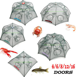 Fishing-Bait-Trap-Crab-Net-Crawdad-Shrimp-Cast-Dip-Cage-Fish-Minow-Foldable-NEW